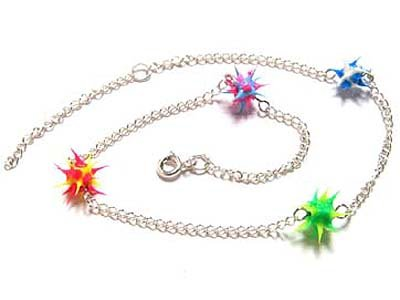 "Gorgeous Sterling Silver Retro Thorny Ball Anklet With 10"" Extender - FREE SHIPPING"