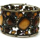 Wide Crystal Water Burnished Amber Genuine Swarovski Crystal Retro Stretch Bracelet