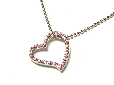 "Gorgeous Genuine Austrian Crystal Pink Floating Heart Ball Necklace (17"")"