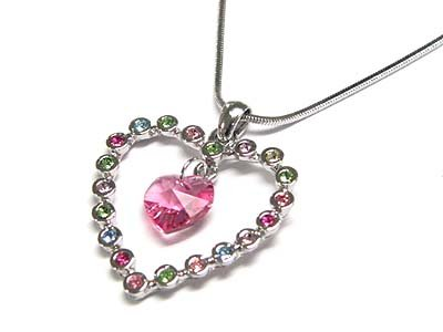 Brilliant Genuine Swarovski Crystal Multi Color WGP Snake Chain Pink Heart Necklace