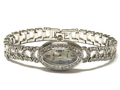 Gorgeous Genuine Swarovski Crystal Oval WGP Face Stainless Steel Women's Mesh Watch - FREE SHIPPING