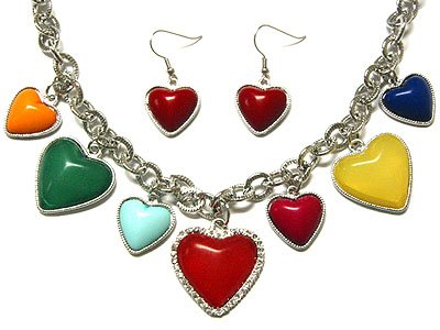 Art Deco Style Adorable Valentine Heart Necklace & Earring Jewelry Set