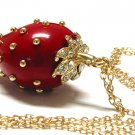 Gorgeous Acrylic Luscious Red Strawberry Necklace (Austrian Crystal Leaves)