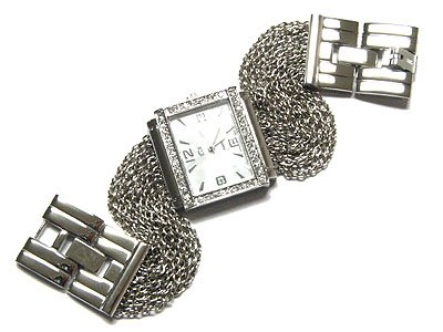 Gorgeous Heavy Multi Chain Mesh Austrian Crystal Fashion Watch - FREE SHIPPING