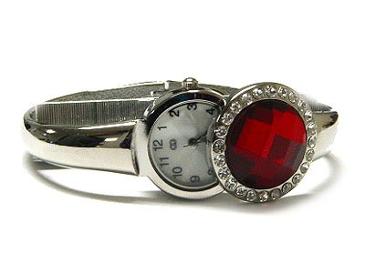Dazzling Huge Red Austrian Crystal Flip Style Fashion Cuff Watch - FREE SHIPPING