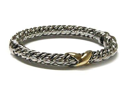 Diamond Cut Designer Two Tone Cable Bangle Bracelet - FREE SHIPPING