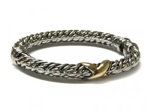 Diamond Cut Designer Two Tone Cable Bangle Bracelet - FREE SHIPPING