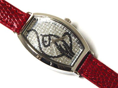 Beautiful & Unique Genuine Red Leather Band Phat Cat Watch - FREE SHIPPING