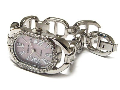 Unique Silver G Link Pink Austrian Crystal Watch - FREE SHIPPING