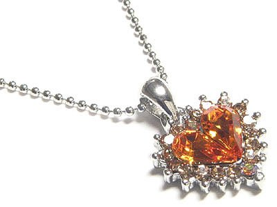 Gorgeous Champagne Austrian Crystal Heart Necklace - FREE SHIPPING