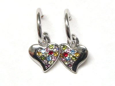Multi Color Austrian Crystal Heart Earrings