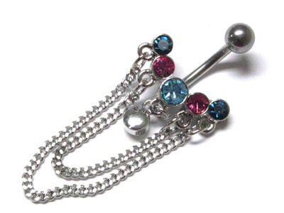 Multi-Color Austrian Crystal Surgical Steel Mesh Link Belly Ring - FREE SHIPPING