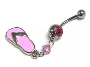 Gorgeous Pink Flip Flop Sandal & Austrian Crystal S. Steel Belly Ring