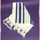 JEWISH BLUE/SILVER TALLIT WOOL TALIT PRAYER SHAWL S=55