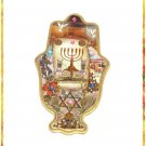 Big Painted Wood Hamsa   Evil Eye , Menorah , new !