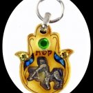 NEW ARCHER ZODIAC WOOD HAMSA KEY CHAIN - EVIL EYE RARE