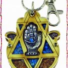 NEW Wood Luck  Success Key chain Hamsa from Holy Land A