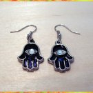 KABBALAH SWAROVSKI EVIL EYE CHARM EARRINGS RARE HAMSA B