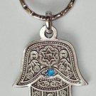 Silver Hamsa - Blue Eye Gem Evil Eye Key Chain Prayer 2