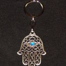 Silver Hamsa - Blue Eye Gem Evil Eye Key Chain Prayer 1
