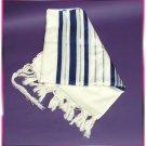JEWISH TALLIT  BLUE/SILVER WOOL TALIT PRAYER SHAWL S=55