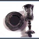 New Silver Nickel Kiddush Shabbat Cup and Tray Judaica