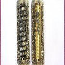 2 lot silver/gold  Metal Mezuzah + 2 Scroll Klaf Kosher