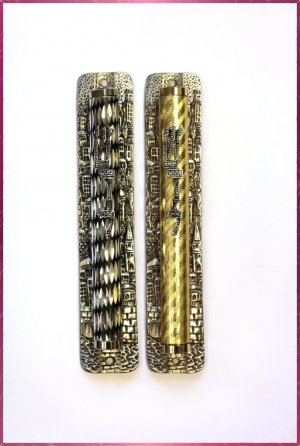 "2 lot 6.5 "" Metal Mezuzah judaica Israel Doorpost Torah"
