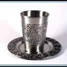 New Judaica Silver Pewter Shabbat Kiddush  Cup and Tray