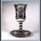 Judaica New Silver Nickel Kiddush Shabbat Cup and Tray