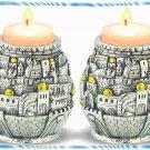Judaica NEW Silver Gold Candlesticks Jerusalem look A