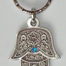 Silver Hamsa - Blue Eye Gem Evil Eye Key Chain Prayer 3