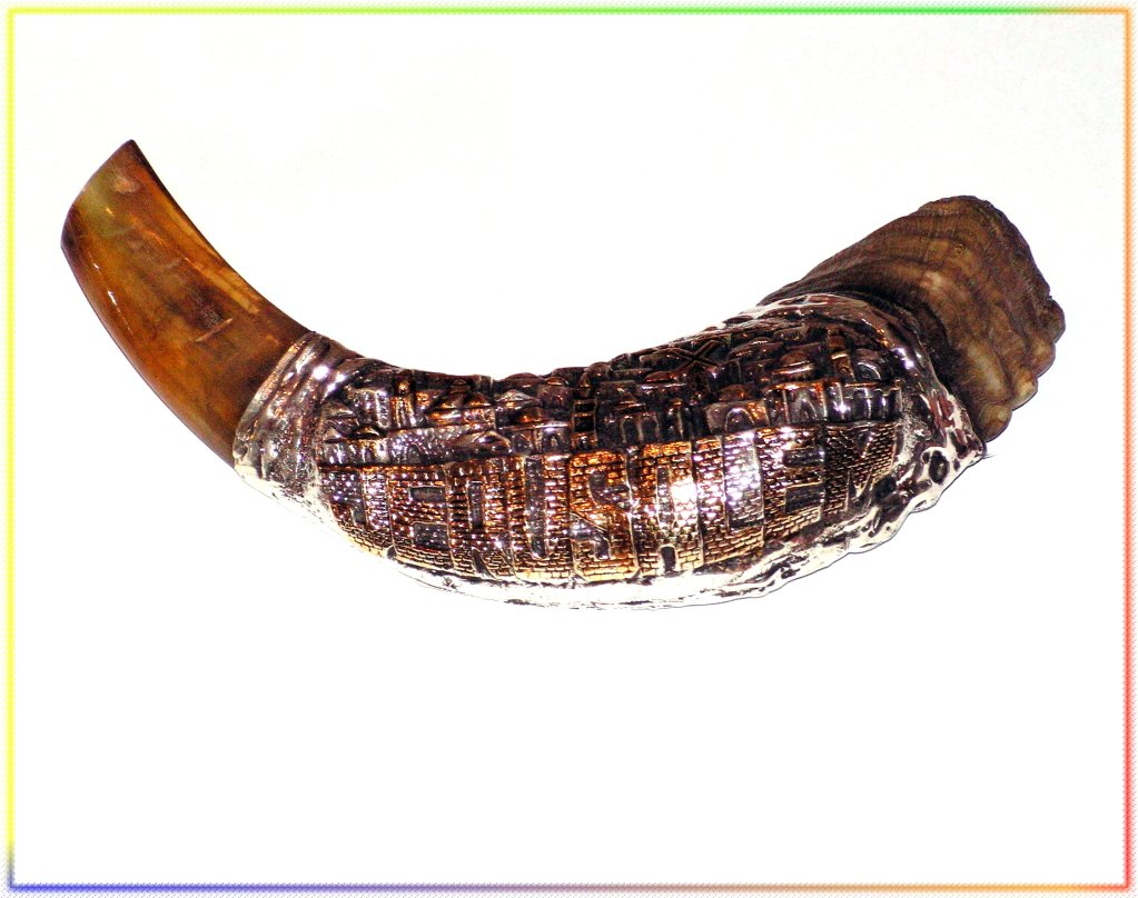 "New Amazing Judaica Silver-plated 15"" Rams Horn Shofar"