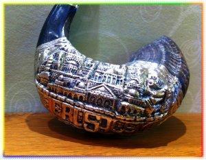 "Unique Silver-plated 23"" Rams Horn Shofar Judaica Rare"