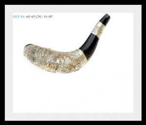 Special New Silver Rams Horn Shofar 40 to 45 Cm Plus Bag Judaica Israel Kosher !