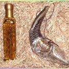 "Set - Oil 13"" Anointing Silver Rams Shofar Plus Bottle Of Oil In Wooden Gift Box"