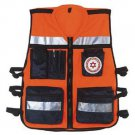 Spacial High Visibility Neon Orange Zipper Safety Vest with Reflective Strips