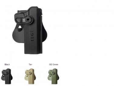 """IMI Tan Polymer retention Roto Holster for 1911 Variants with/without rails, 5"""""""