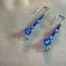 Blue Glass and Sterling Silver Earrings.