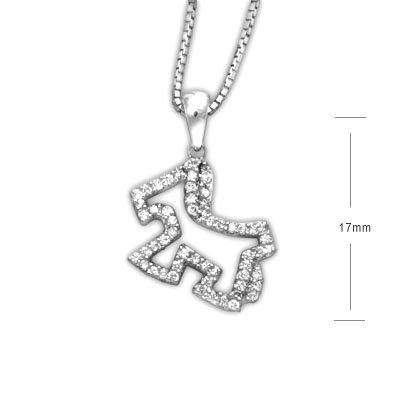 Doggie Dog Puppy 18K/750 White Gold Diamond Necklace