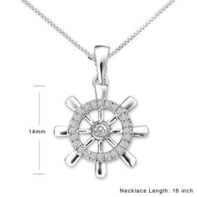 Ship Boat Compass Sailor  White Gold Diamond Necklace