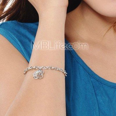 LOver ROSE Flower Bracelet Platinum Plated 925 Silver