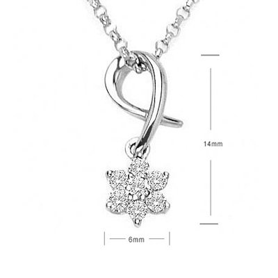 Snow Piece Flowers Diamond Pendant 18K/750 White Gold