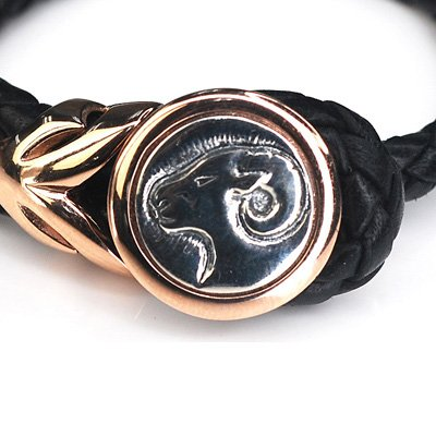 Silver Kings Aries Leather Female Female Bangle / Bracelet (Rose Golden Buckle)