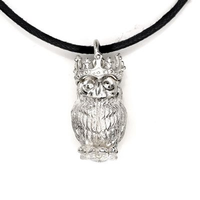 Owl Animal King Crown 925 Silver Necklace Leather chain
