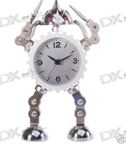 Metal Robot  Alarm  Analog Clock (1*AAA)