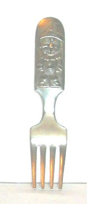 Clown, gentleman elephant on vintage silver baby fork