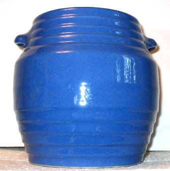 Old York pottery cookie jar, blue glazed stoneware