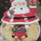 Christmas Cookie Jar Santa Glass Kitchen Canister