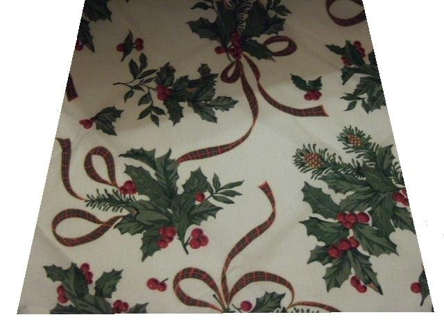 Christmas Holly Tablecloth Holiday Kitchen Decor